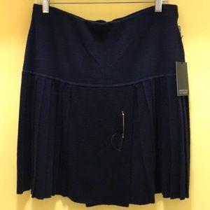 Adrienne Vittadini Sweater Knit Pleated Skirt Sz L